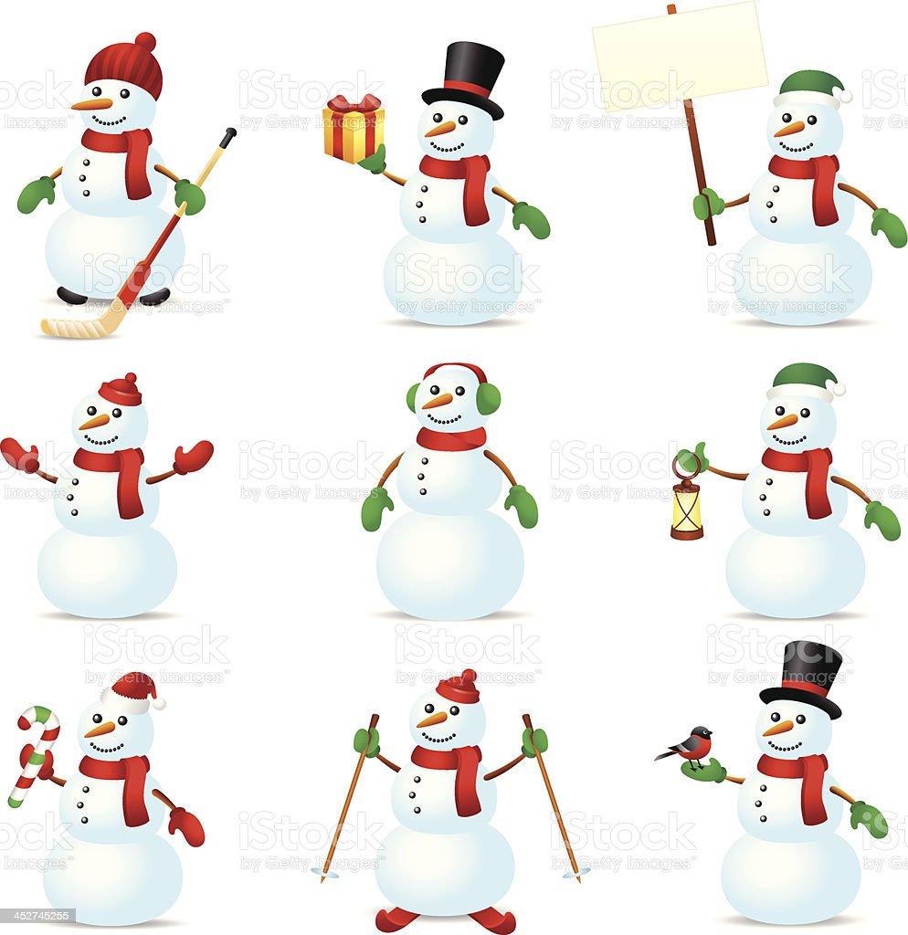 Snowman set royalty-free stock vector art