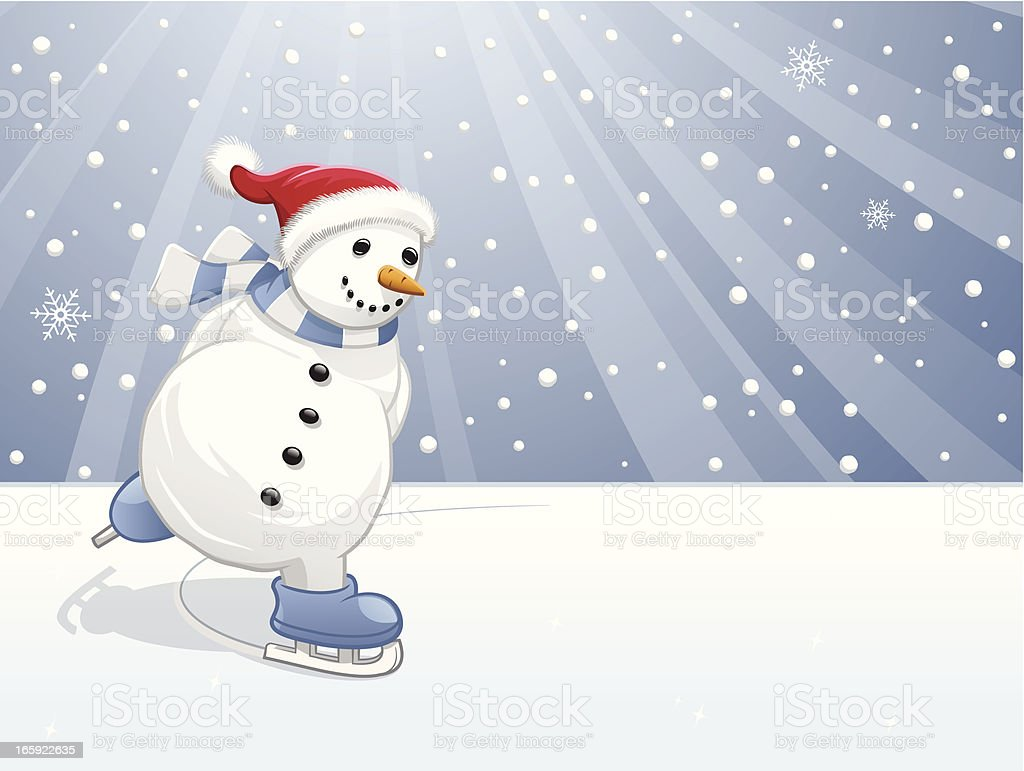 snowman skating royalty-free stock vector art