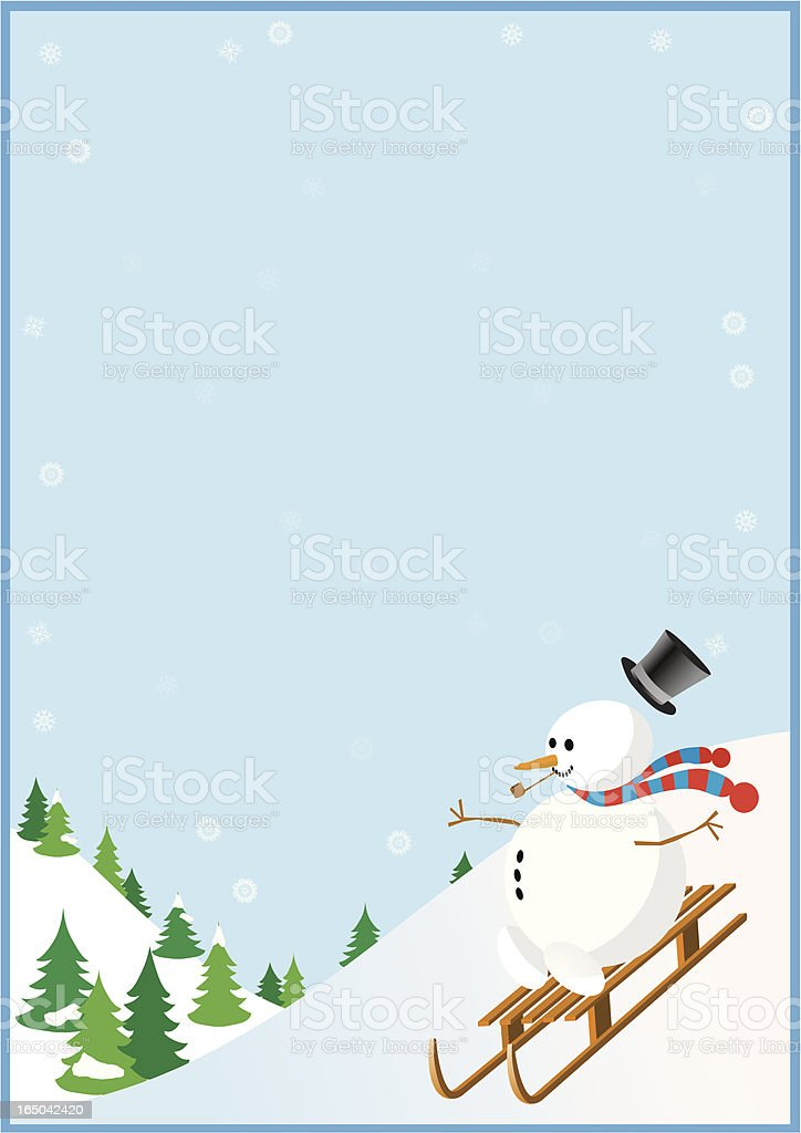 Snowman sledging down a hill royalty-free stock vector art