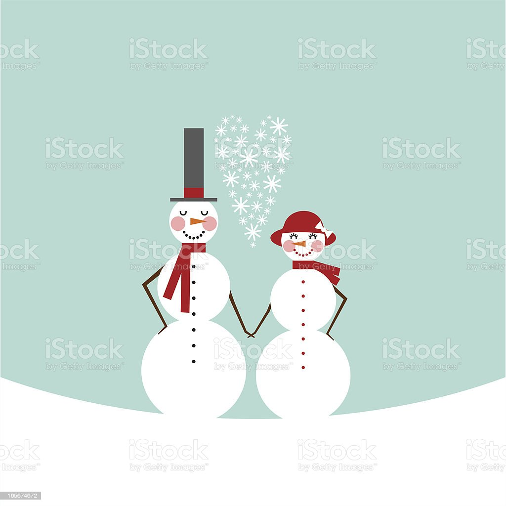 snowman & snowoman. Frosty couple in love. Valentine?s Day royalty-free stock vector art