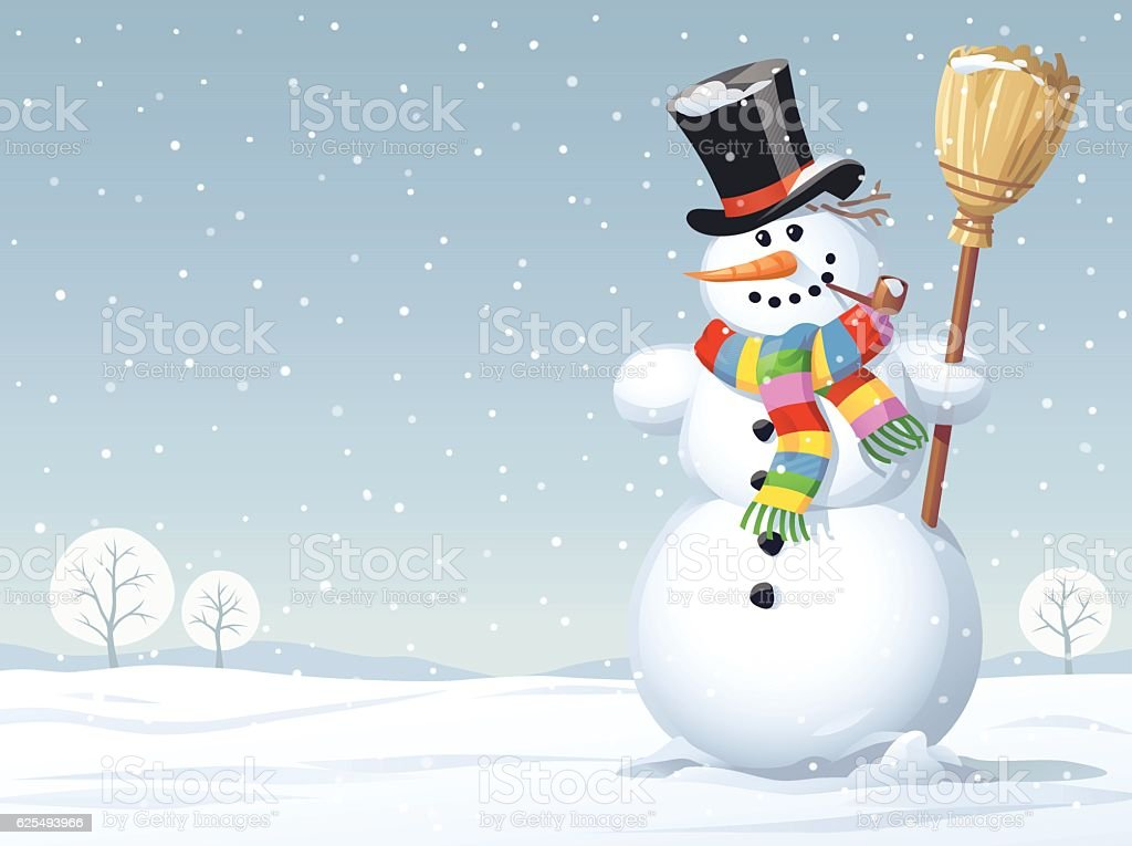Snowman Standing In A Meadow vector art illustration