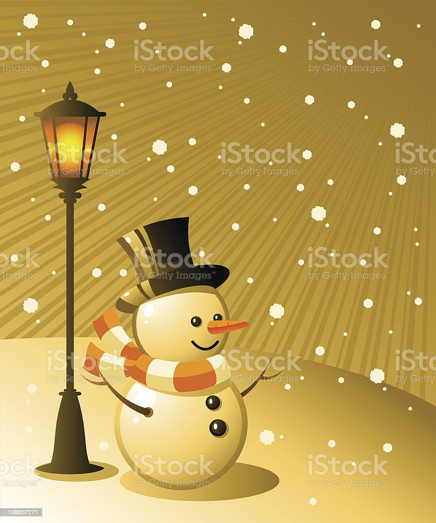 Snowman stands under a lamp on snowy evening royalty-free stock vector art