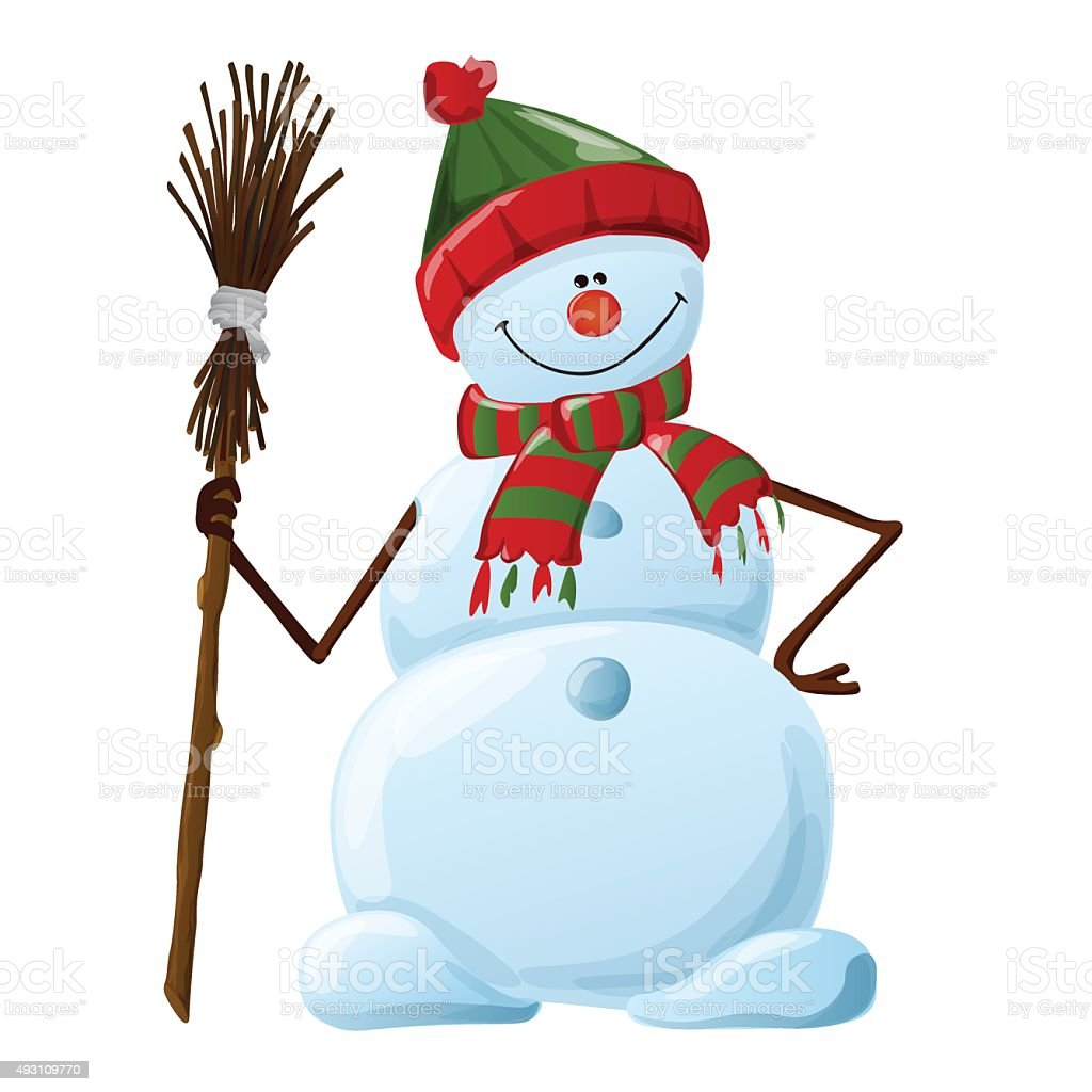 snowman symbol of new year and christmas vector art illustration
