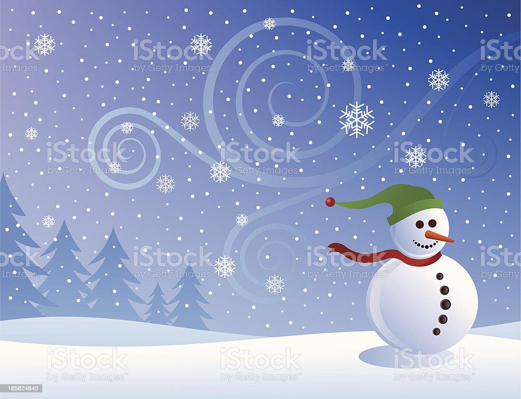 Snowman vector art illustration