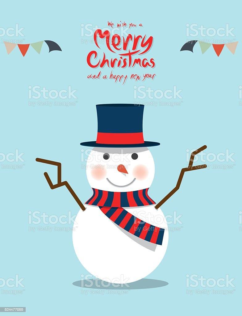 Snowman (Christmas Characters) vector art illustration