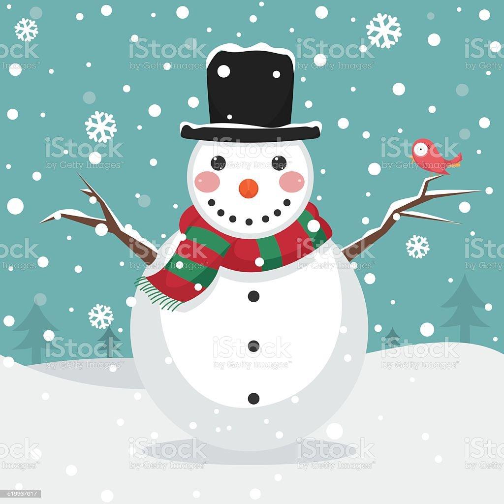 Snowman Vector Illustration vector art illustration