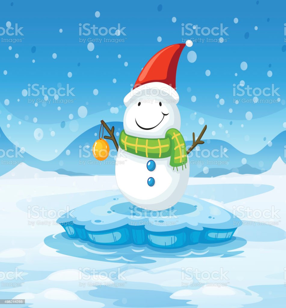 Snowman wearing Santa's red hat royalty-free stock vector art