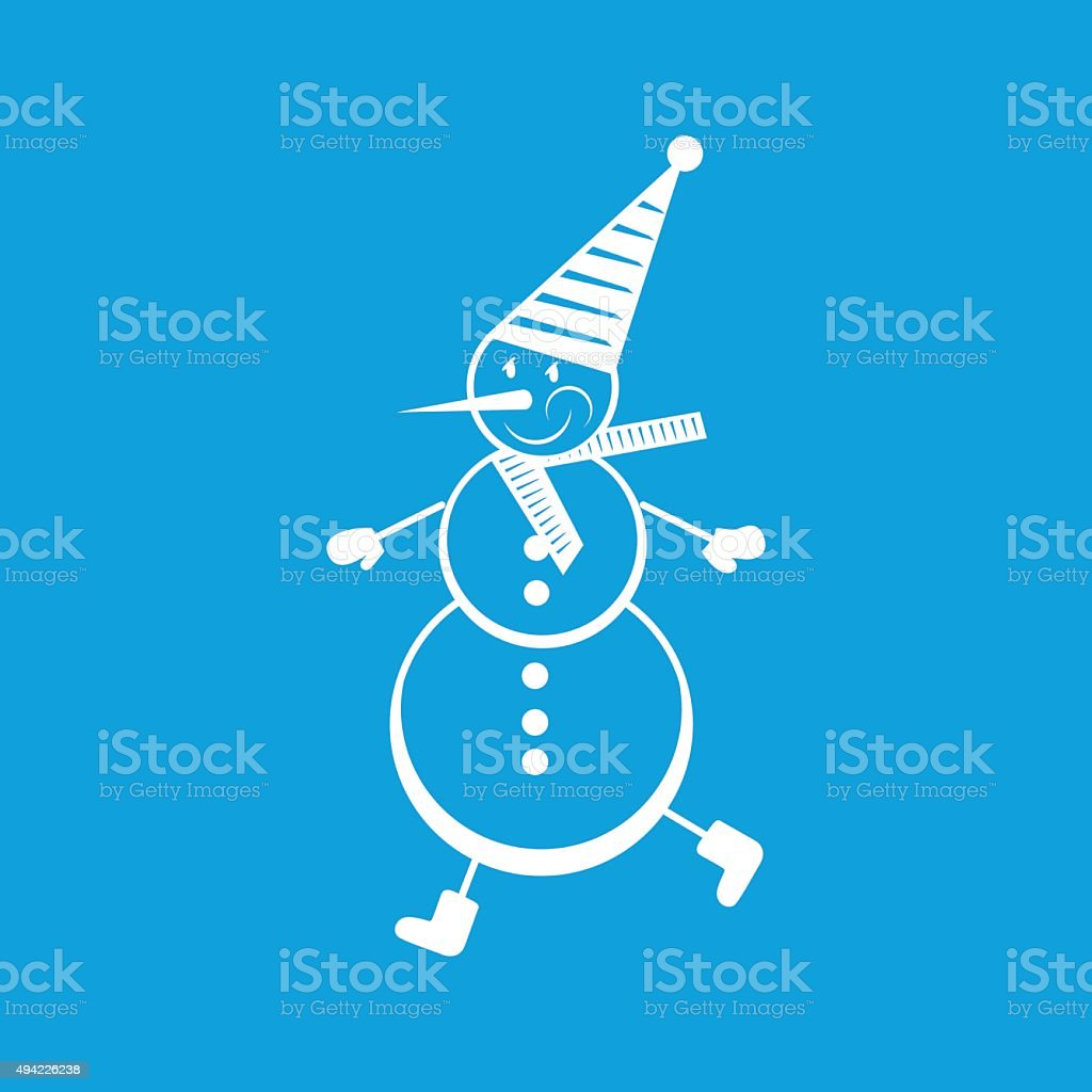 Snowman white icon vector art illustration