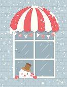 snowman window house