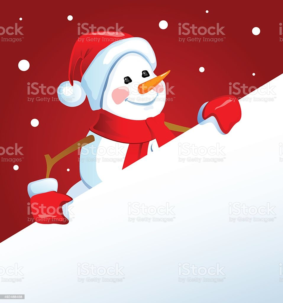 Snowman with a poster vector art illustration