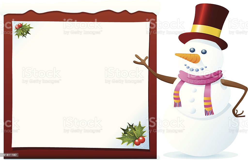 Snowman With Banner royalty-free stock vector art
