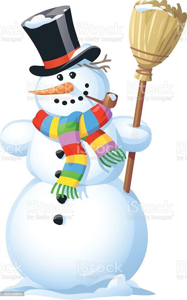Snowman With Broom vector art illustration