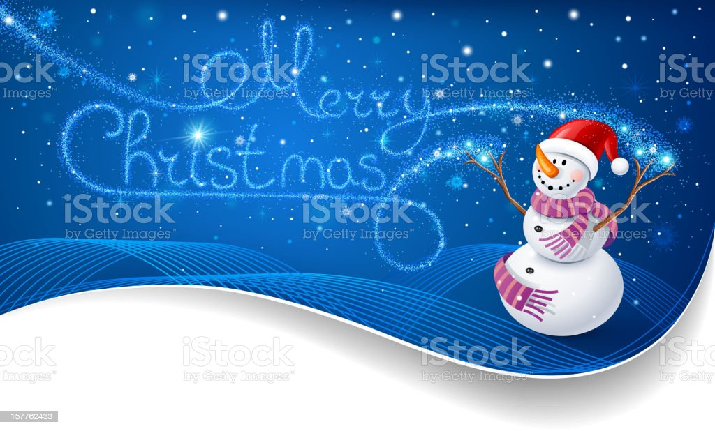 Snowman with Christmas text royalty-free stock vector art