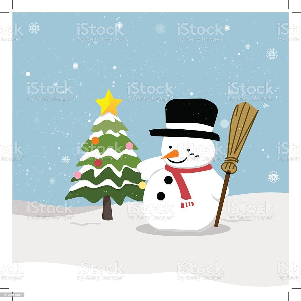 Snowman with Christmas tree royalty-free stock vector art