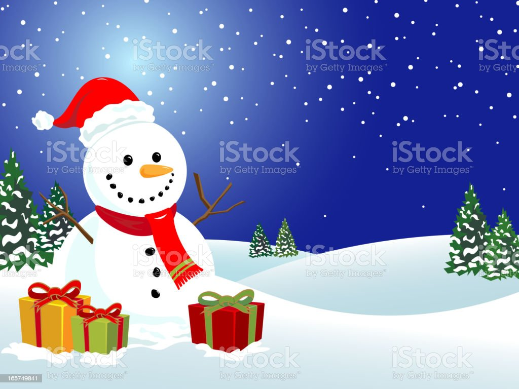 Snowman with Gifts royalty-free stock vector art