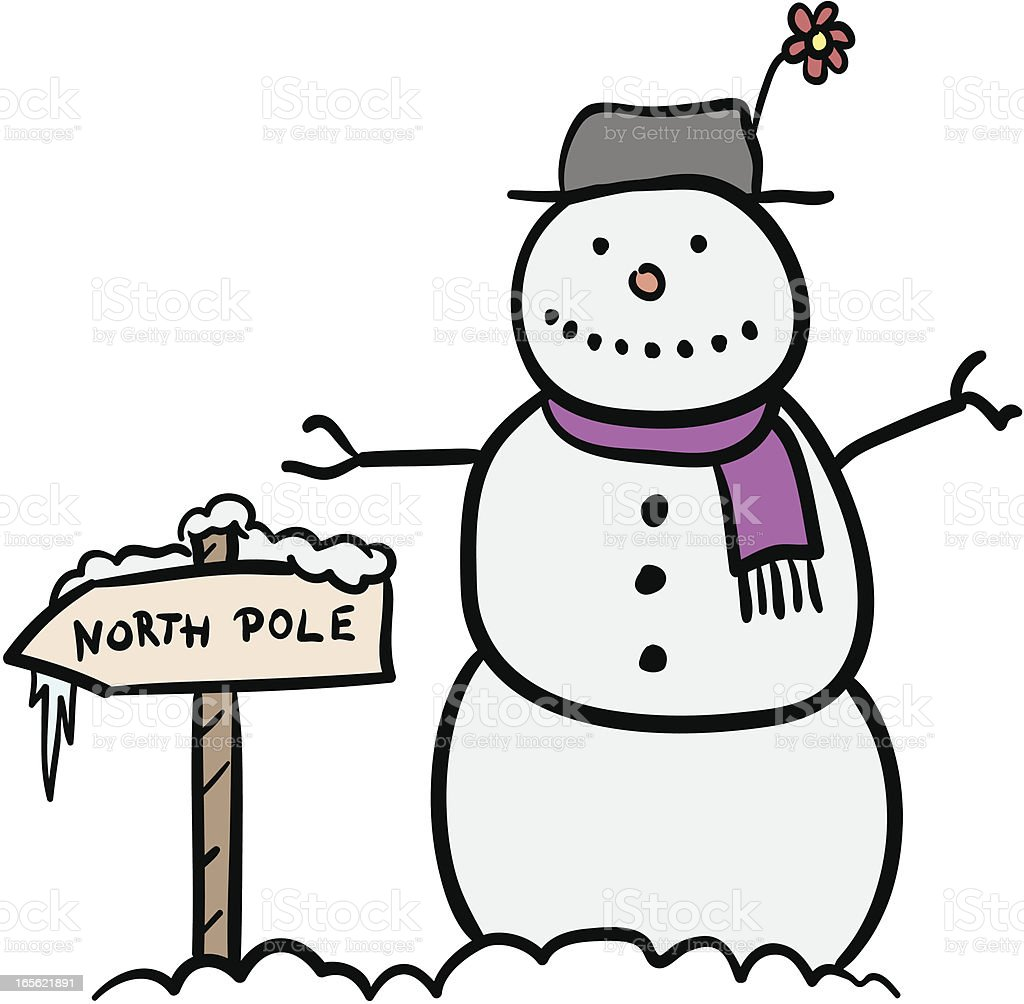 Snowman with North Pole sign royalty-free stock vector art