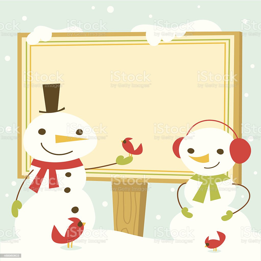 Snowman with Sign - Copy Space royalty-free stock vector art
