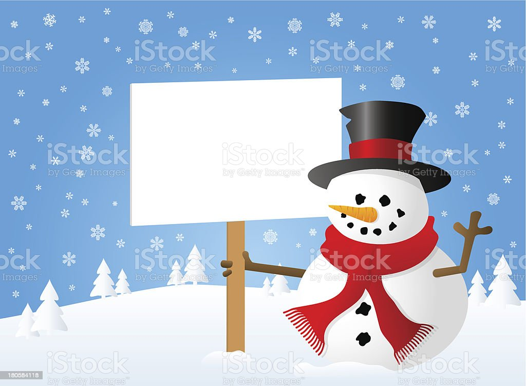 snowman with sign in his hand royalty-free stock vector art