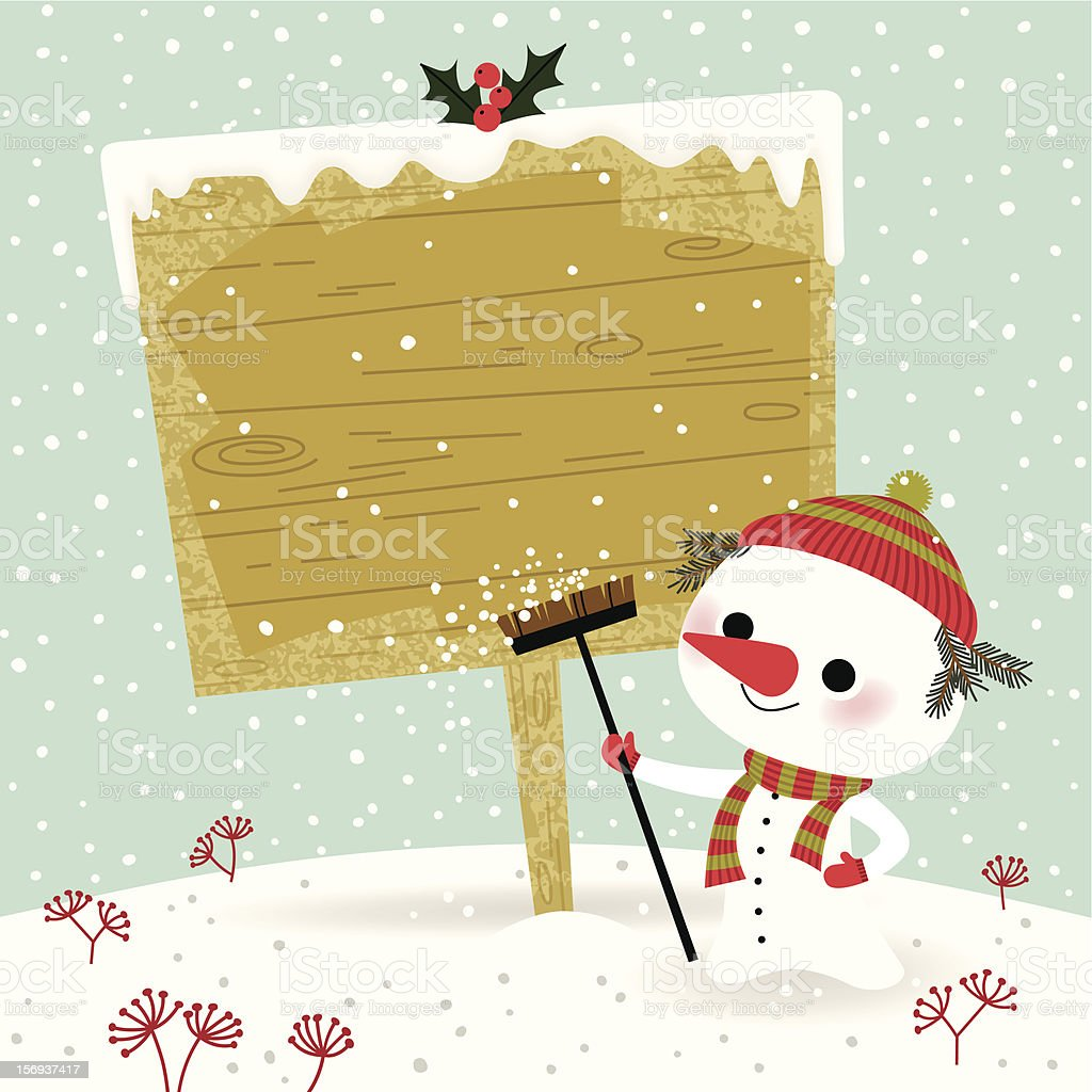 Snowman with Sign. royalty-free stock vector art