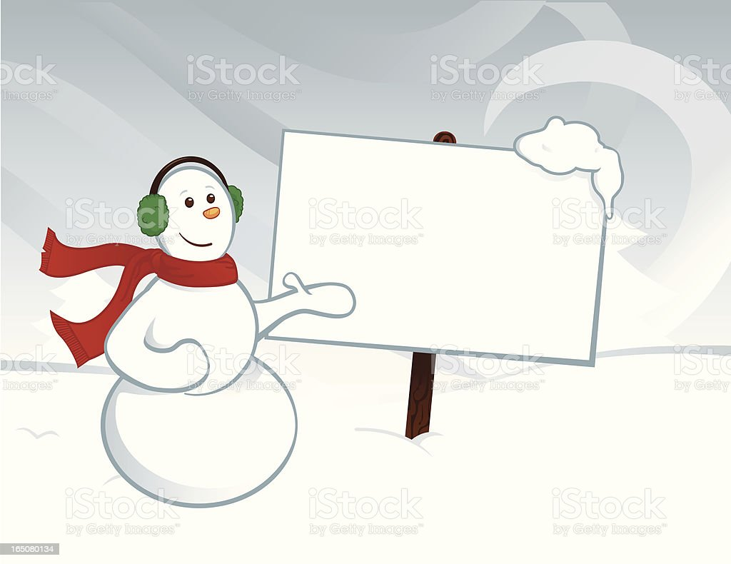 Snowman with Sign royalty-free stock vector art