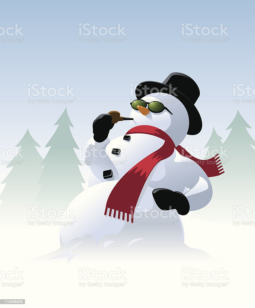 Snowman with sunglasses royalty-free stock vector art
