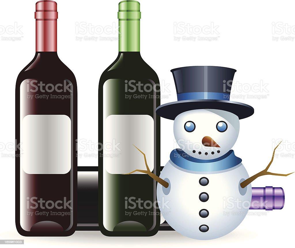 Snowman with Winebottle vector art illustration