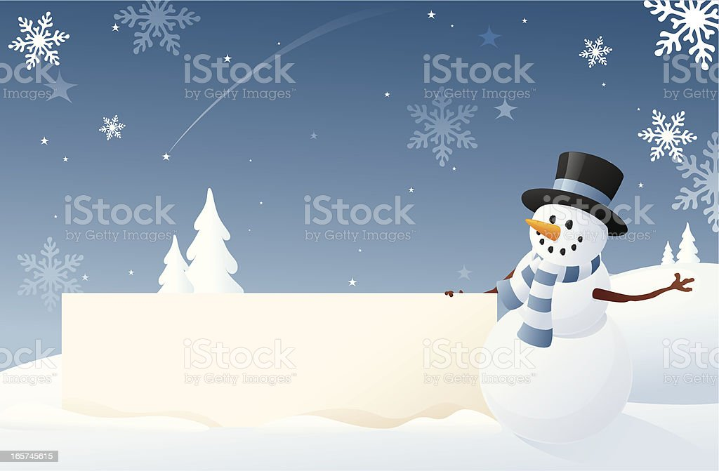 Snowman's Snowy Sign royalty-free stock vector art