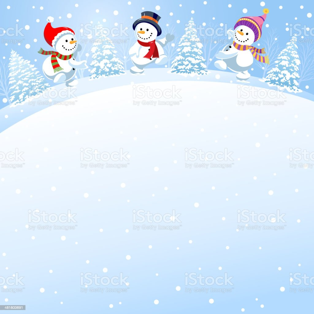 Snowmen Dancing Fun royalty-free stock vector art