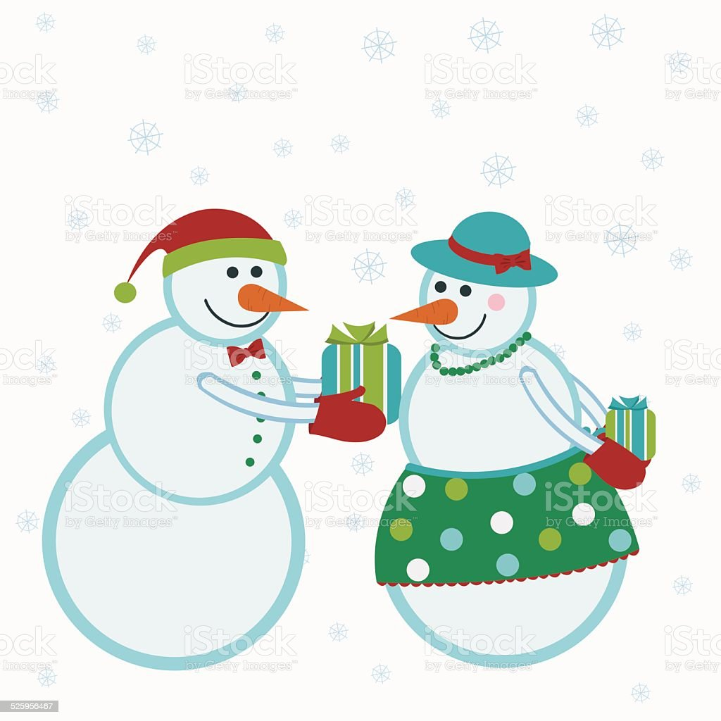 Snowmen give gifts royalty-free stock vector art