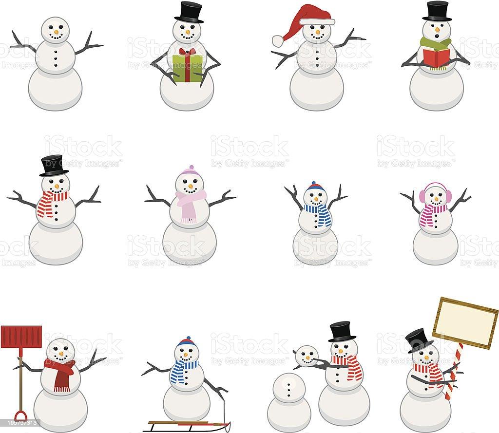 Snowmen Icons vector art illustration