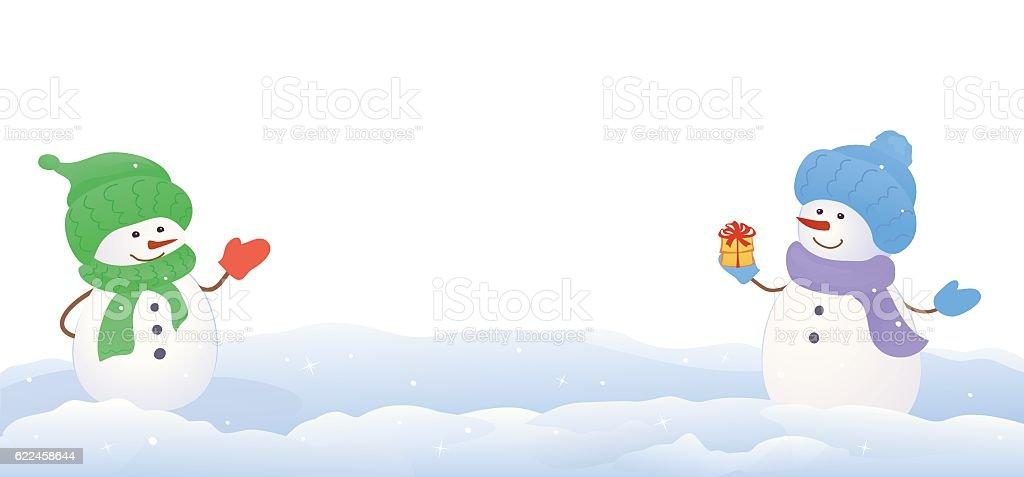 Snowmen on white background vector art illustration