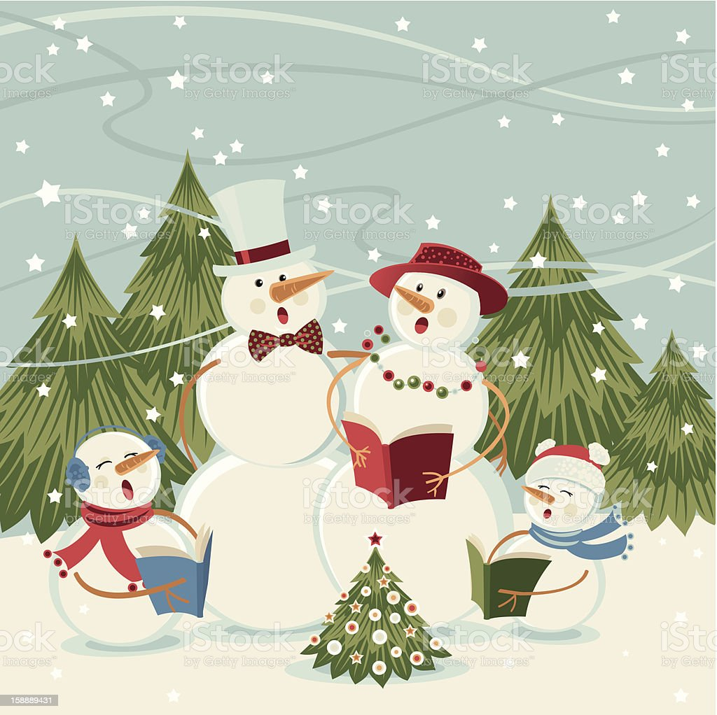 Snowmen Singing Carols royalty-free stock vector art