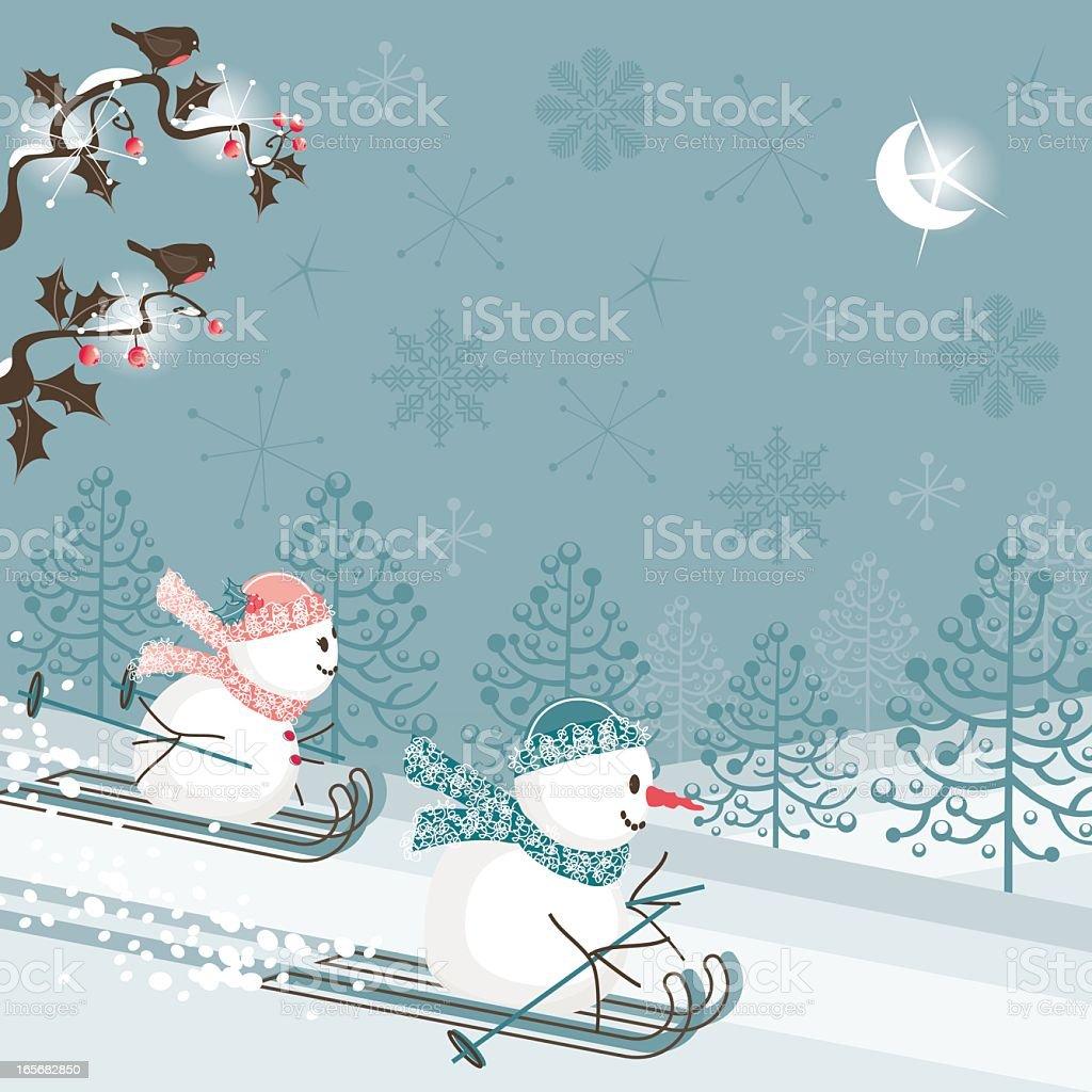 Snowmen skiing royalty-free stock vector art