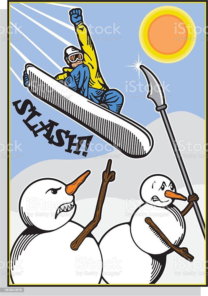 Snowmen Snowboarder Attack royalty-free stock vector art