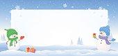 Snowmen snowy frame