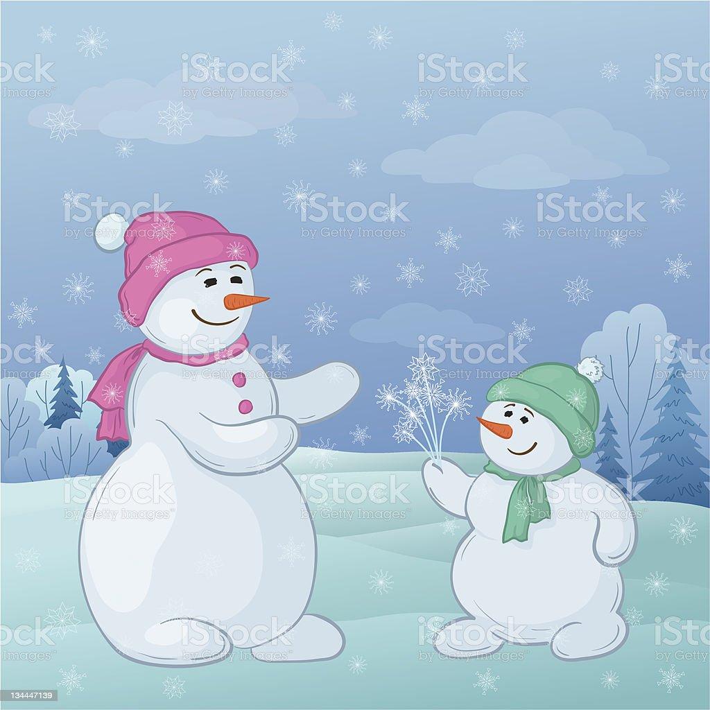 Snowmen son gives mom snowy flowers royalty-free stock vector art