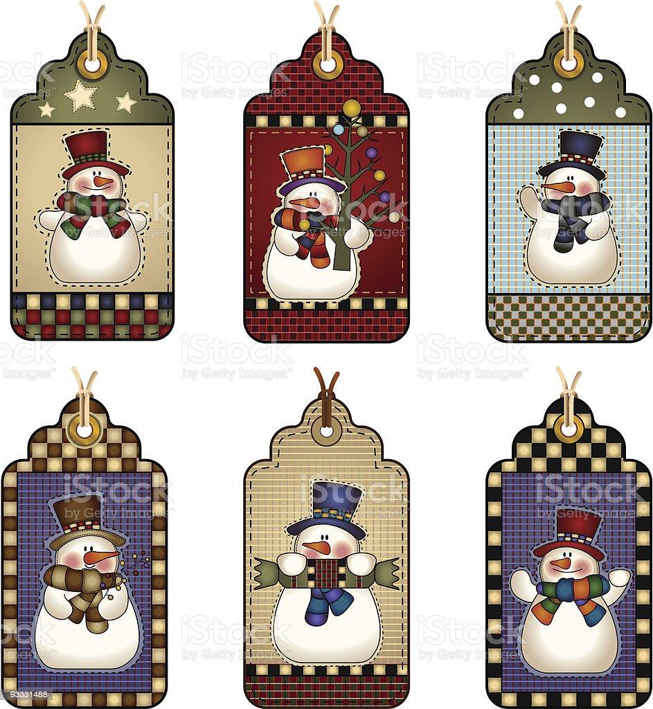 Snowmen Tags royalty-free stock vector art