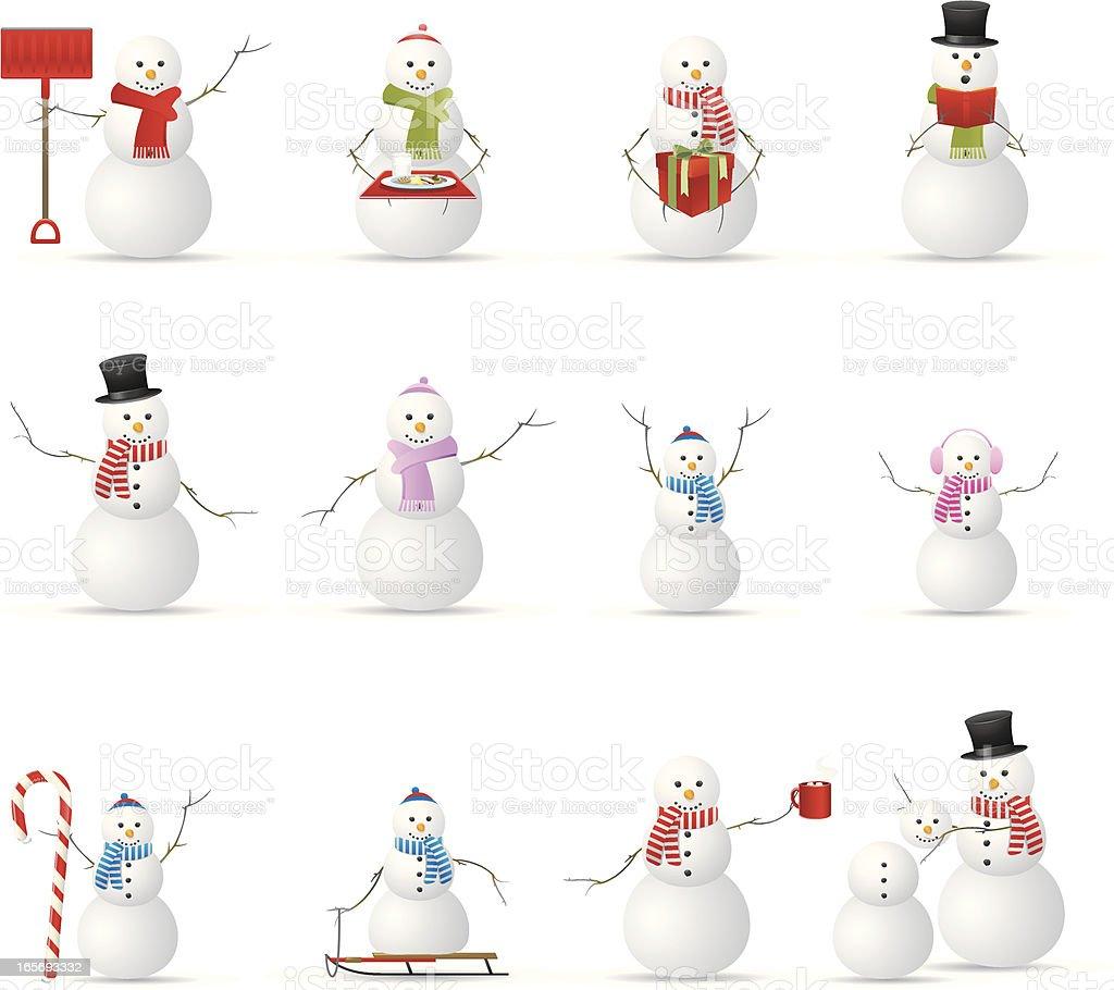 Snowmen! vector art illustration