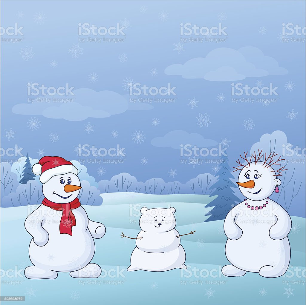Snowmens mould child in forest royalty-free stock vector art