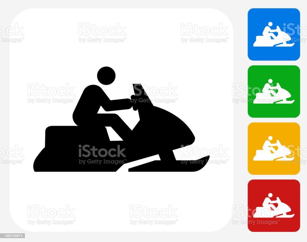 Snowmobile Icon Flat Graphic Design vector art illustration