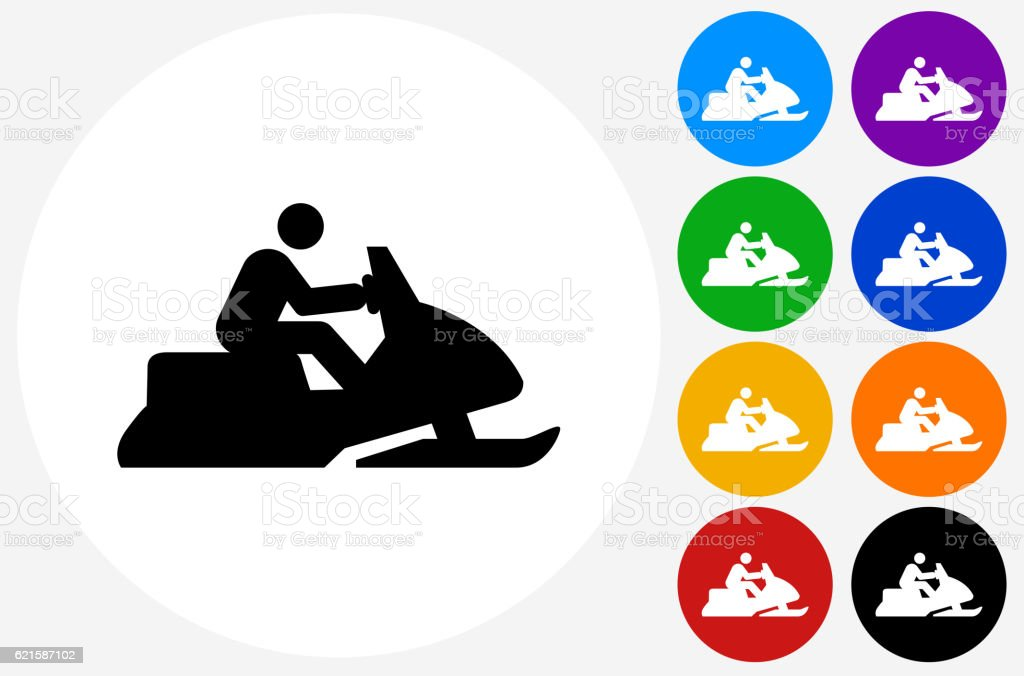 Snowmobile Icon on Flat Color Circle Buttons vector art illustration