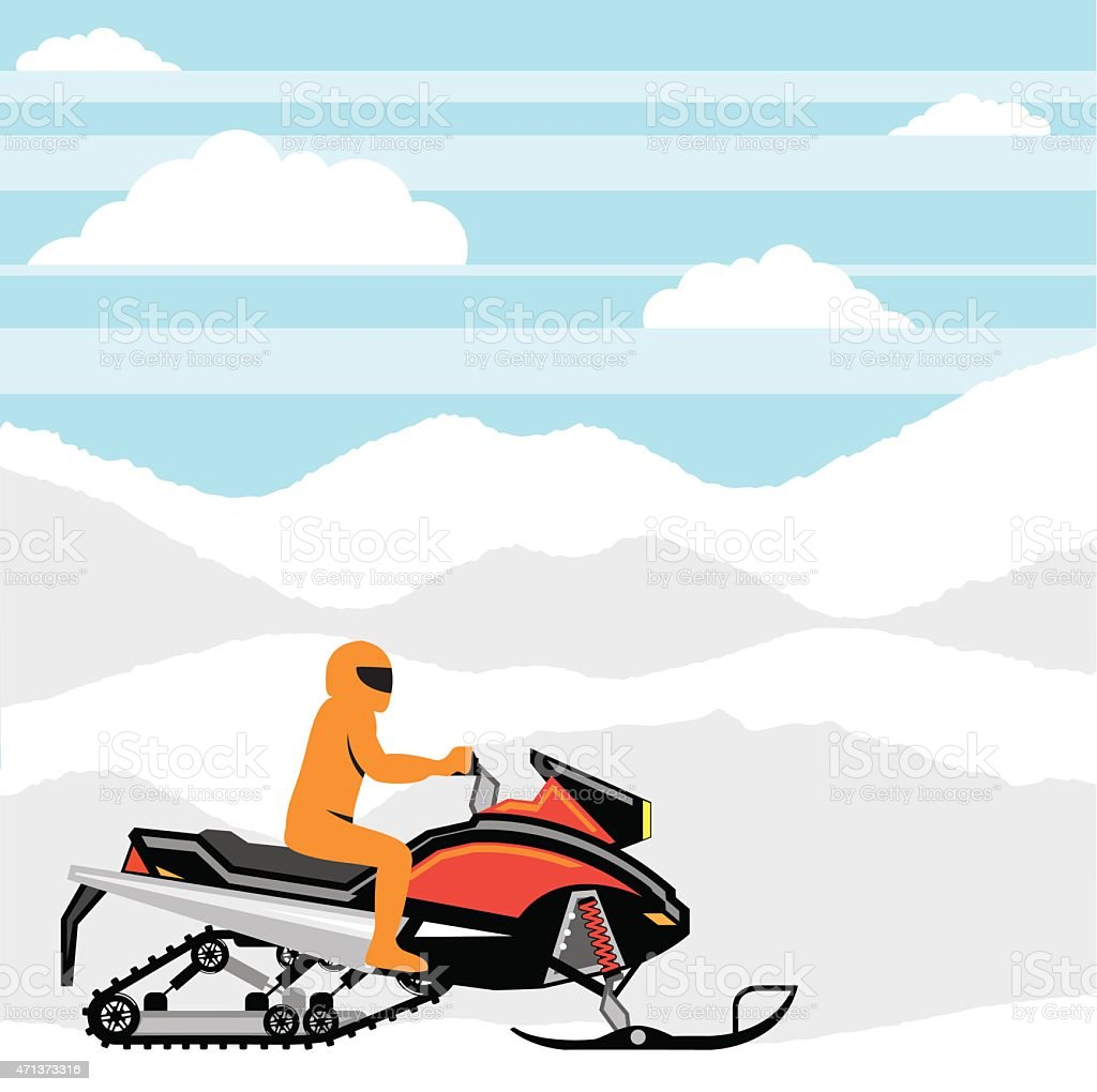Snowmobile landscape vector vector art illustration