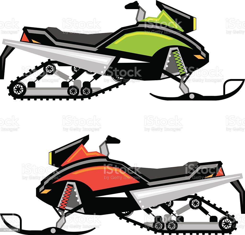 Snowmobile vector vector art illustration
