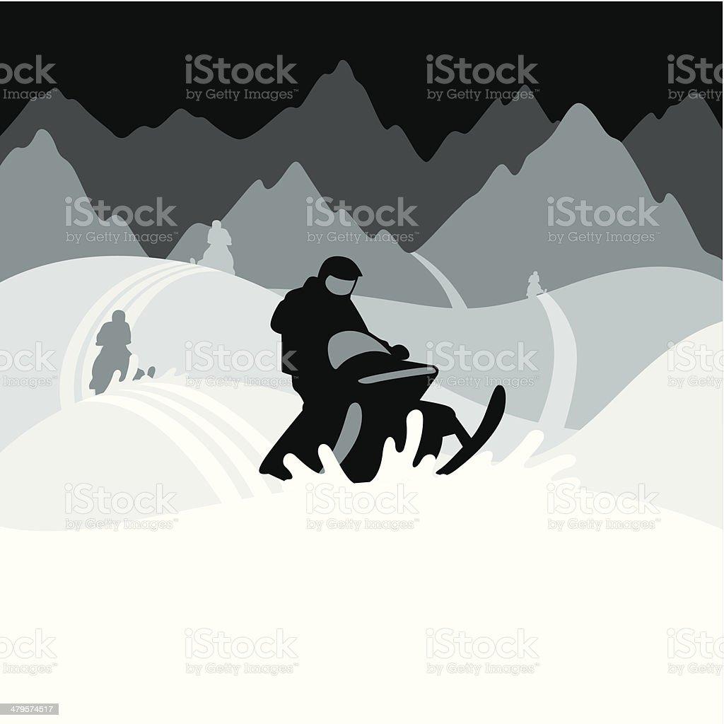 Snowmobilers C vector art illustration