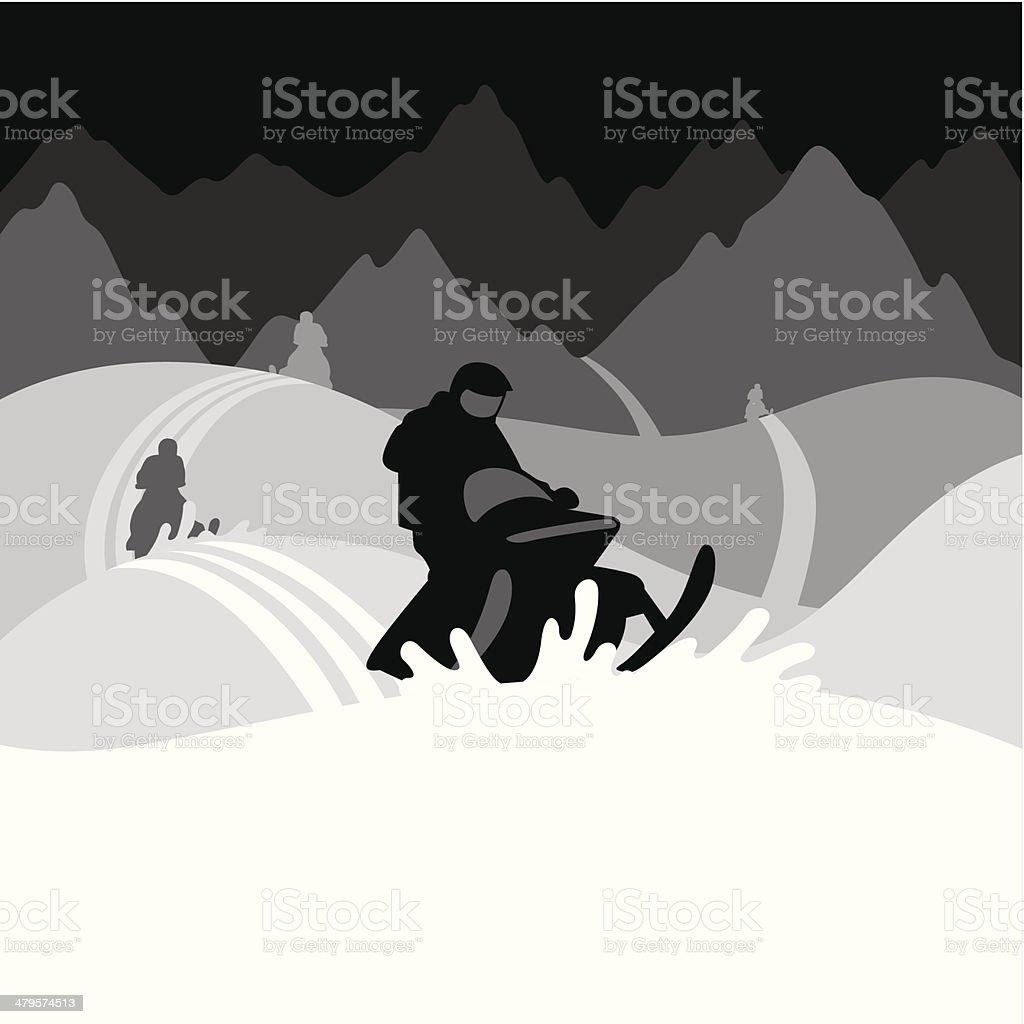 Snowmobilers vector art illustration