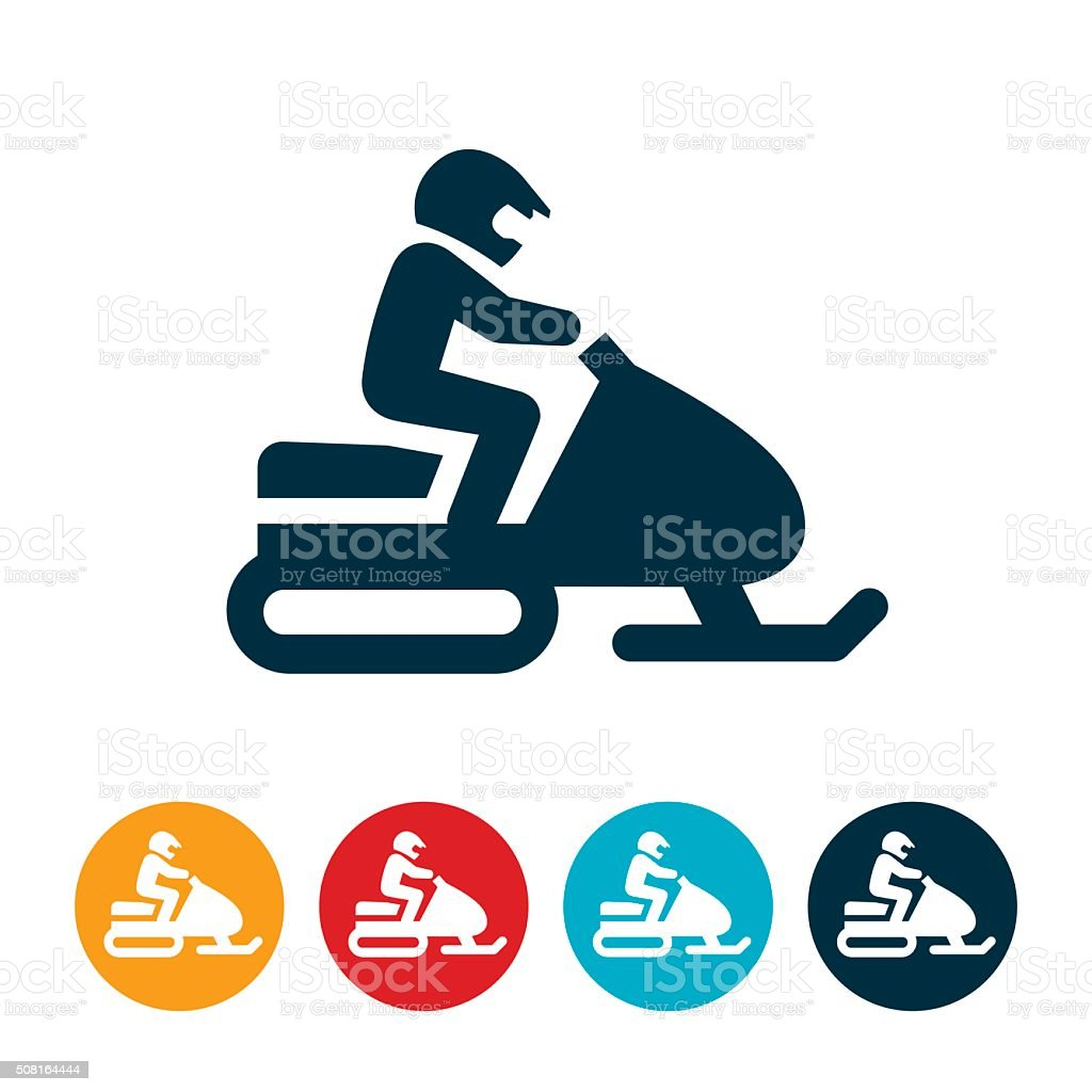 Snowmobiling Icon vector art illustration