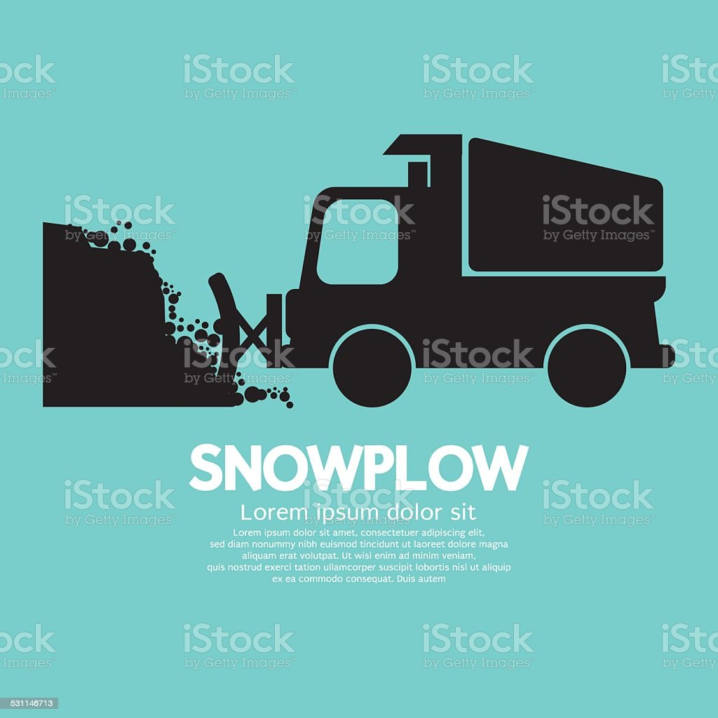 Snowplow Removing The Snow From Road vector art illustration