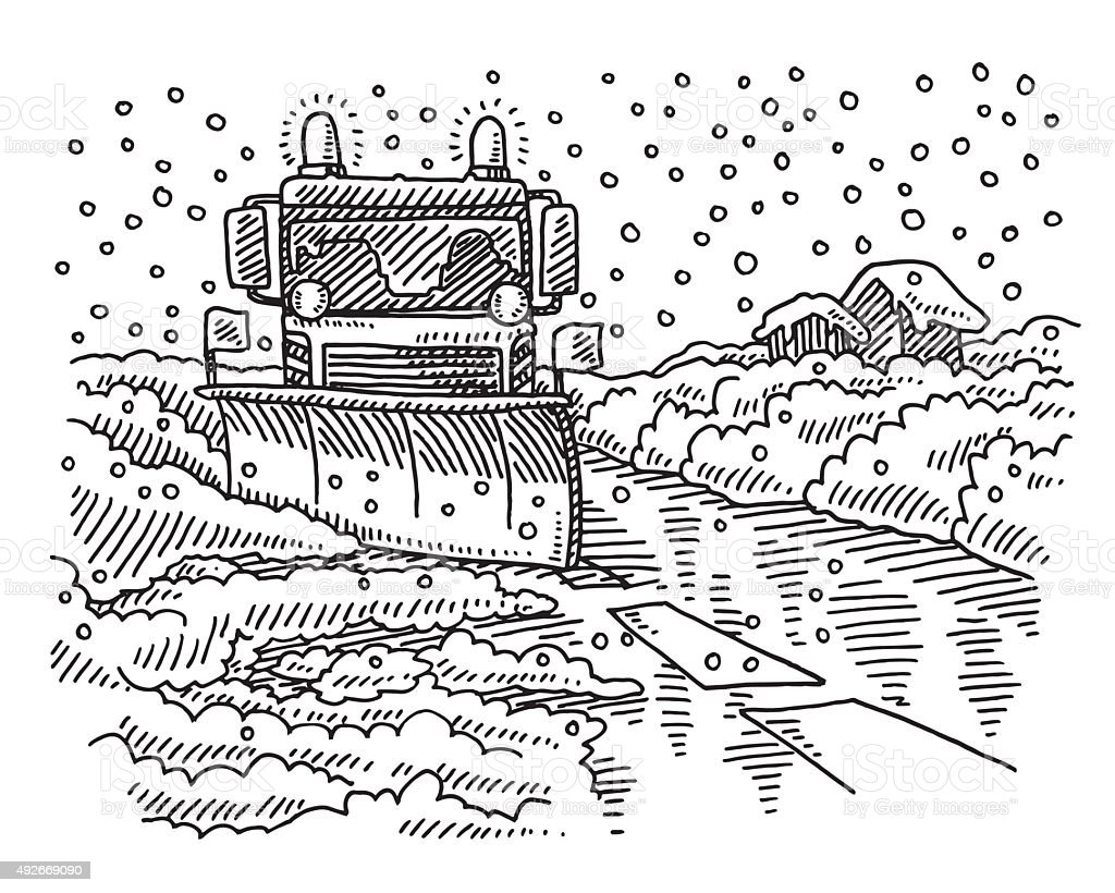 Snowplow Winter Road Service Drawing vector art illustration