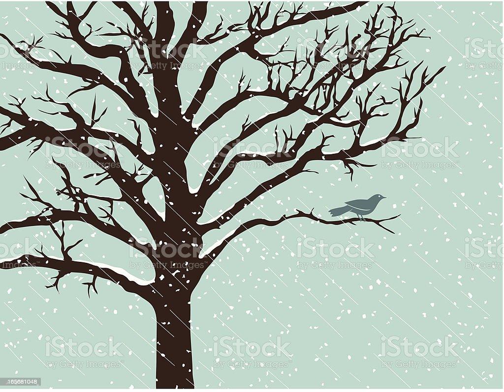 Snowstorm Perch vector art illustration