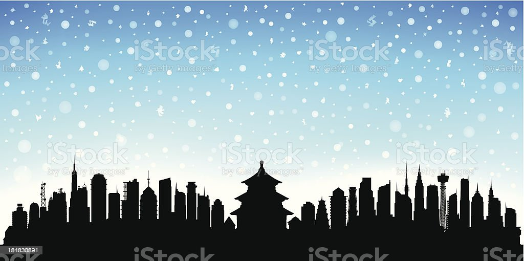 Snowy Beijing (Each Building is Moveable and Complete) royalty-free stock vector art